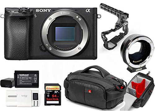 Kit Sony Digital Camera Alpha a6300 - Mirrorless Digital Camera + Metabones Adapter EF to Emount MB EF-E-BT4 + Memory Card Sandisk 64GB + Cage 8Sinn with Handle + Bag CC-191 + 2 Batteries HL XW50 + 1 Battery Charger