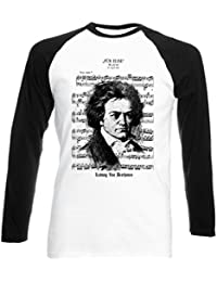 teesquare1st Beethoven Ludwig Van Camiseta DE Mangas Negra LARGAS T-Shirt