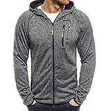 Yvelands Herren Sweatshirt Plus Size Zipper Pullover Langarm Kapuzenpulli Tops Bluse(CN-2XL,DunkelGrau)