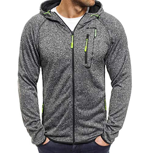 MCYs Herren Winter Splicing Zipper Button Pullover Langarm Kapuzenpulli Bluse Mantel Jacke Outwear Überzieher Strickjacke