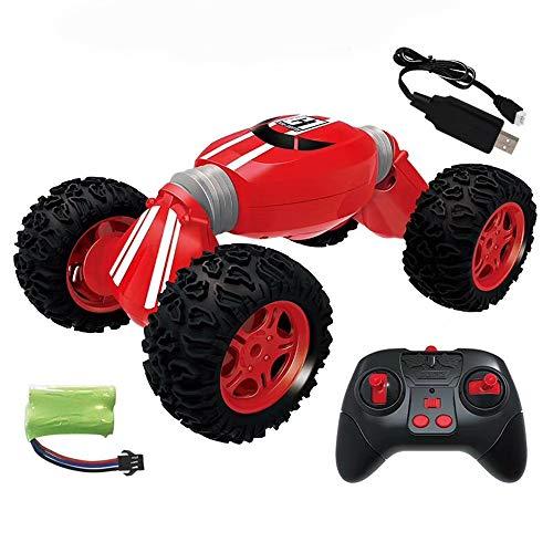 Nlatas 2,4 GHz Ferngesteuertes Auto RC Stunt, der Hochgeschwindigkeitsauto Verdreht Wiederaufladbares, Verformbares Torsionsauto,Red