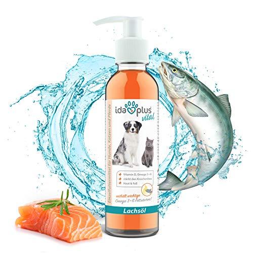 Ida Plus - Premium Lachsöl in Lebensmittelqualität für Tiere - 200 ml Pumpflasche - für Hunde, Katzen und Pferde - mit Omega 3 & 6 Fettsäuren - Fischöl kaltgepresst - Made in Germany