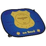 Auto-Sonnenschutz mit Namen Tim und schönem Officer-Motiv für Jungs - Auto-Blendschutz - Sonnenblende - Sichtschutz