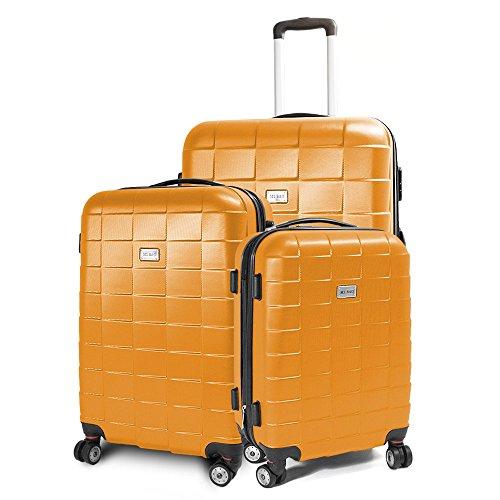 BERWIN Kofferset 3-teilig Reisekoffer Koffer Trolley Hartschalenkoffer ABS Teleskopgriff Modell Squares (Orange)