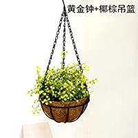 HJLHFD Simulation Plant Potted Hanging Basket Green Rose Flower Hanging Orchid Ceiling Balcony Decorative Pendants 50 x 25cm Yellow