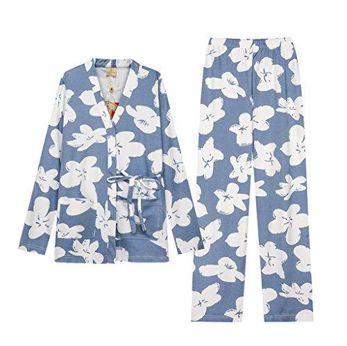 Il giapponese stile kimono pigiami donne cadono cotone manica lunga camicia dolce ragazza di servizio del vestito ( Colore : Blu , dimensioni : Xl ) Blu