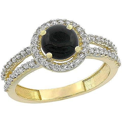 In oro giallo 14 k con diamanti, colore: nero Onyx Halo-Anello porzionatore, rotondo, 6 mm, taglie J-T