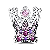 KAAYAH - Princesas Corona - Colgante con dijes para mujer, abalorio de plata 925 con cuentas de circonita cúbica rosa, púrpura y rosadas para dijes Pulsera