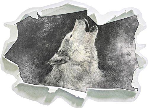 Heulender Wolf Kunst , Papier 3D-Wandsticker Wanddekoration 3D-Wandaufkleber Wandtattoo