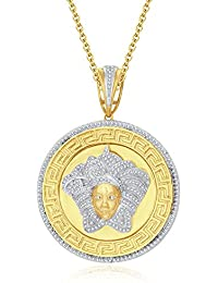 "Silvernshine 1.25 Ct Round Cut D/VVS1 Diamond Versa Pendant 18"" Chain In 14K Yellow Gold Over"