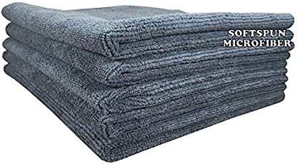 SOFTSPUN Microfiber Car Cleaning Cloth Set of 5 for Detailing & Polishing 340 GSM, 40 cm x 40 cm, Grey