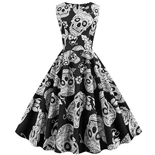 Carrie Kleid Kostüm Prom - K-Y Kleider Damen Kleid Elegante Vintage Ärmellose Frauen Halloween Druck Hülsen-O-Ansatz