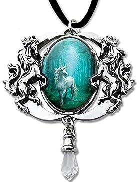 Forest Unicorn Cabochon Amulett Einhorn Halskette mit Samtband im Geschenkkarton