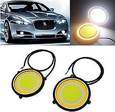Sitwell Car LED COB DRL Daytime Running Light Round Fog Lamp,Large(Yellow)-Set of 2pcs