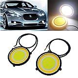 #7: Car LED COB DRL Daytime Running Light Round Fog Lamp Double Colour (Set of 2)
