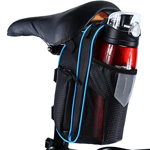 Selighting Fahrrad Satteltasche Wasserdicht Fahrradtasche mit Flaschenhalter für Mountainbike Rennrad (Blau)