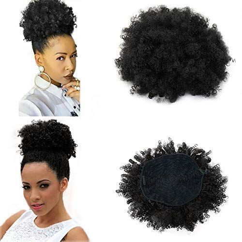 Beauty Angelbella High Afro Puff Ponytail Drawstring Short Kinky Curly Hair Bun Clip in on Pony Tail Synthetic Curly Hair Bun Ponytail Wrap Updo Hair Extensions with Clips (#1b) Bun Wrap
