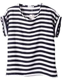 dc3270bf Women Girl Short Sleeve Casual Loose Pattern Print Chiffon Blouse Top T- shirt