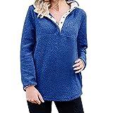 iHENGH Sweatshirt Damen,Women Herbst Langer ÄRmel Sherpa Pullover Knopf Down Fleece Casual Sweatshirt Tops