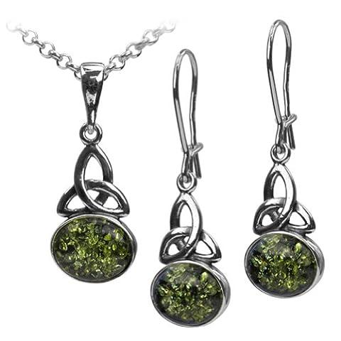 Grüner Bernstein Sterling Silber Keltisches Anhänger Ohrringe Shmuckset Kette 46 cm