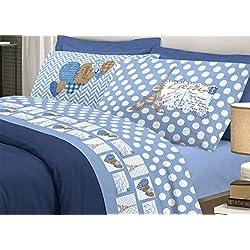 CapitanCasa Bettwäsche-Set aus weichem Flanell, Motiv Paris, Blau Matrimoniale blau