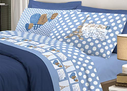 Biancheriaweb completo lenzuola in morbida flanella disegno parigi colore blu matrimoniale blu