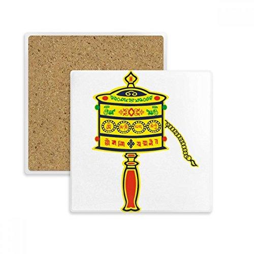 DIYthinker Buddhismus Religion Gebet-Rad Sanskrit Platz Coaster-Schalen-Becher-Halter Absorbent Stein für Getränke 2ST Geschenk Mehrfarbig