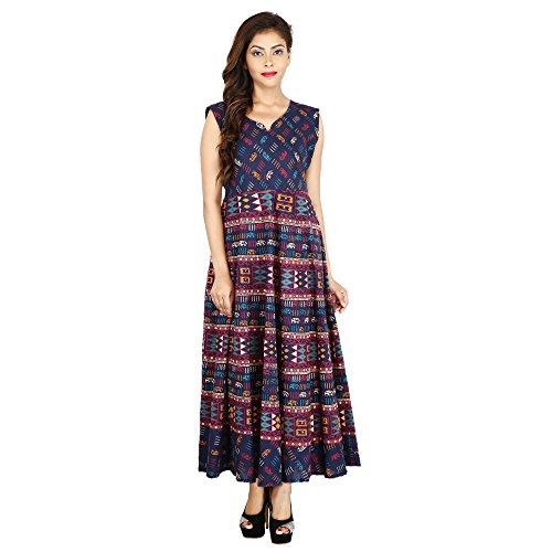 JR Print Women's Long Dress Jaipuri Animal Geometric Print Cotton  available at amazon for Rs.399