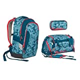 Satch Sleek by Ergobag - Schulrucksack 3tlg. Set - Petrol Triangle