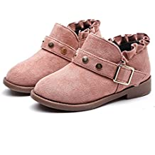 Koly Botas de invierno caliente botas de nieve de las niñas Lace Rivet Martin boots Corto Boots Nieve Espesa Sneaker Botines Niñas Zapatos para niñas calzado infantil (22, Rosa)