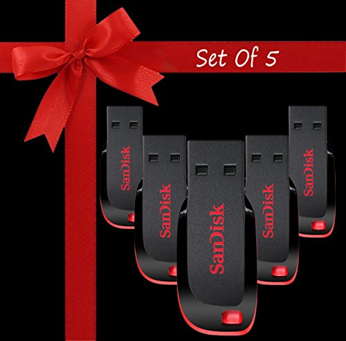 Standard Sandisk Cruzer Blade CZ50 USB Flash Drive pack of 5 32GB USB 2.0 Pendrive  available at amazon for Rs.4499