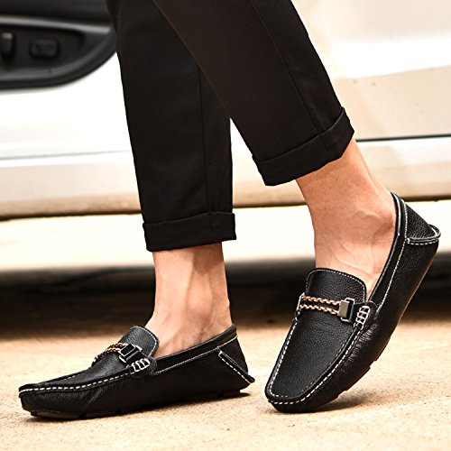 Icegrey Hommes Mocassins Cuir Classic Chaussure Flâneurs Noir