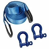 Noryb 10M 4x4 Offroad Tow Rope Heavy Duty Towing Strap with 2x 7/8 Shackles Recovery Kit