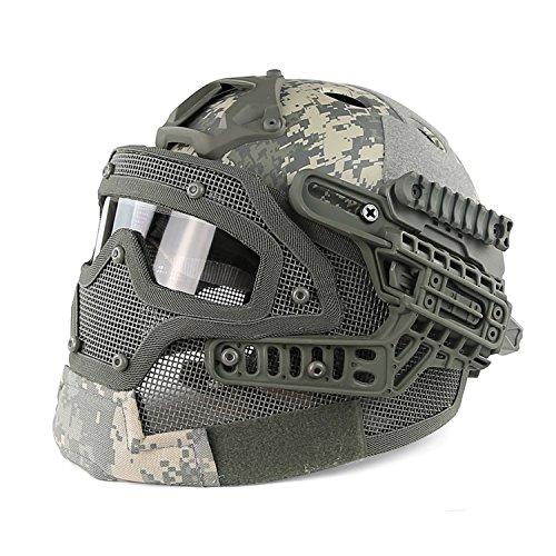 Airsoft-Helm, taktischer Helm, PJ-Typ, mit Schutzbrille und Mesh-Vollgesichtsmaske, von Haoyk, ACU (Airsoft-schutzbrillen Acu)