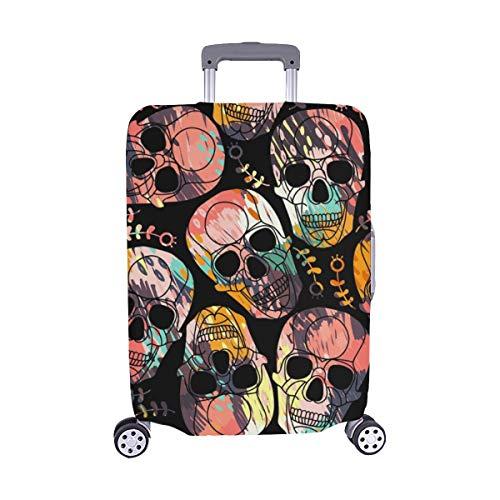 (Abstrakte Schädel-Schmutz-Verzierung Halloween-nahtloses abstraktes Muster-Muster Spandex-Trolley Reise-Gepäck-Schutz-Koffer-Abdeckung 28,5 X 20,5 Zoll)