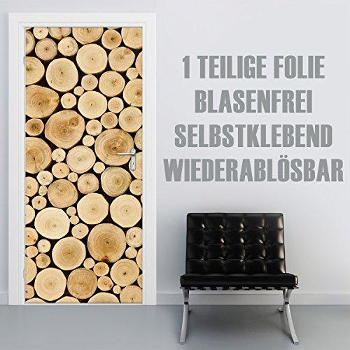 XXL-Tapeten Türtapete selbstklebend TürPoster Wood Stump im Format 90x210cm - Türfolie Klebefolie...