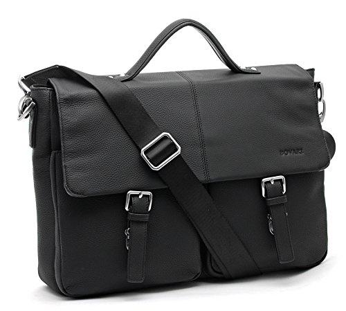 Bovari echt Leder Herren Premium Aktentasche Umhängetasche Laptop-Tasche 13 bis 15 Zoll Model Lyon - Größe L (schwarz matt) 13 Premium-leder