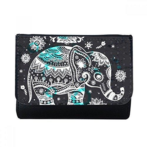 DIYthinker Nación Elefante Flor Negro Azul de múltiples Funciones Animal de la Carpeta de Cuero de imitación Regalo Tarjeta Monedero