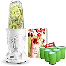 Wonderchef 400 Watt Nutri-Blend White with Free Set of 6 Glasses, Air Tight Container and Recipe Book by Sanjeev Kapoor