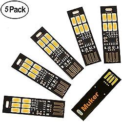 Muker LED USB-Powered Lamp light Ultra-thin 5 Pack