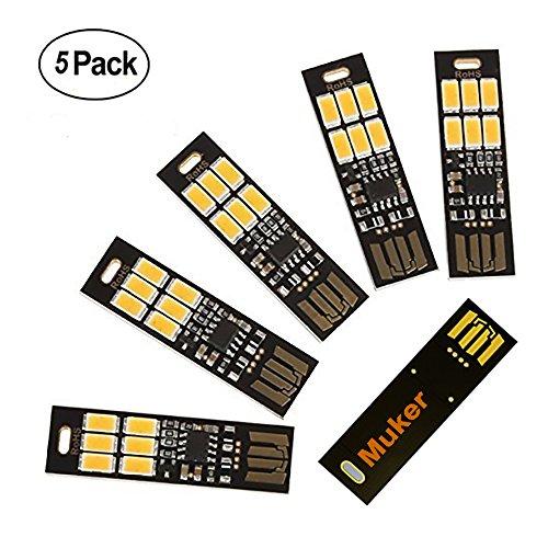 Muker® LED 5 Stk. Super Helle Nachtlicht mit USB-Anschluss, Touch dimmer, USB Beleuchtung Test