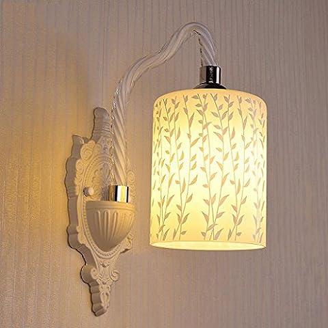 FHK,Wandleuchten Europäische LED-Glaswandlampe Schlafzimmer Nachttischlampe Wohnzimmer Esszimmer den Restaurant Balkon Gang Eingang Treppenhaus Dekorative Wandleuchten ( Farbe : B )