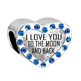 - 51DsQkfPcnL - Uniqueen New I LOVE YOU TO THE MOON AND BACK Birthstone Heart Charms Bead fit Bracelet Cheap