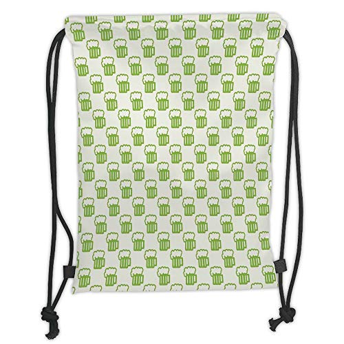 Fashion Printed Drawstring Backpacks Bags,Green,Holiday Theme with Foamy Beer Glasses Celebration Fun Doodle Pattern Design,Apple Green White Soft Satin,5 Liter Capacity,Adjustable String Closure, Green Apple-designs