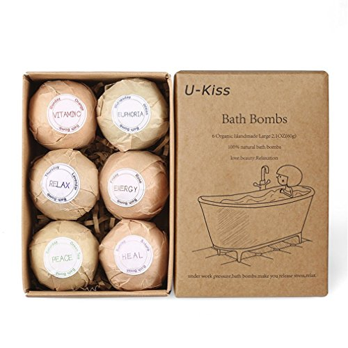 U KISS Bath Blaster Gift Set All Natural Essential Oil Bath Bomb, Birthday Gifts for Teen Girls – Valentine Gift (6 PCS) (Bath Natural Oil)