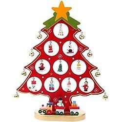 Colleer Holz DIY Weihnachtsbaum Schmuck Abnehmbare Weihnachtsbaum Stand mit Miniatur Weihnachtsschmuck Xmas Dekoration Weihnachten Geschenk (Rot, L)