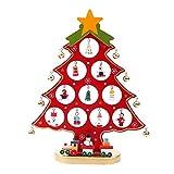 Colleer Holz DIY Weihnachtsbaum Schmuck Abnehmbare Weihnachtsbaum Stand mit Miniatur Weihnachtsschmuck Xmas Dekoration Weihnachten Geschenk (Rot, M)