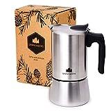 Groenenberg Espressokocher Induktion geeignet | Edelstahl | 4 Tassen Espressokanne | Mokka-Kanne 200 ml | Espresso-Maker inkl. Ersatz Dichtung | Coffee-Maker mit praktischem Tragebeutel