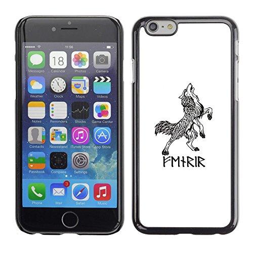 FlareStar Colour Printing Celtic Viking Wolf White Black Ink Tattoo Cassa Cover Guscio di plastica per Apple (5.5 inches!!!) iPhone 6 Plus
