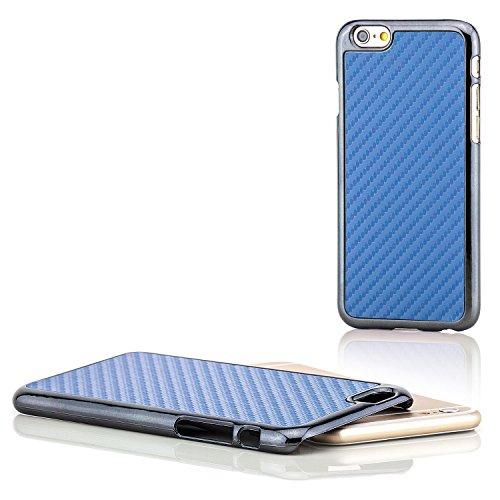 Saxonia® iPhone 6 / 6S Hülle Case Schutzhülle Cover Slim Design in Carbon-Optik Braun Blau